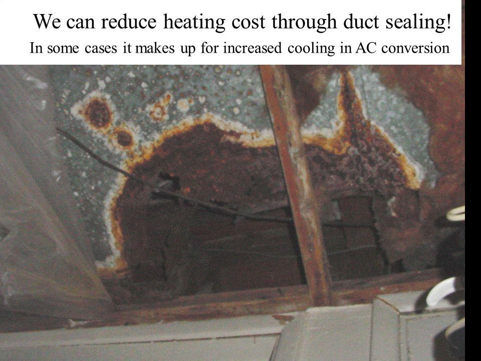 We can reduce heating cost through duct sealing.