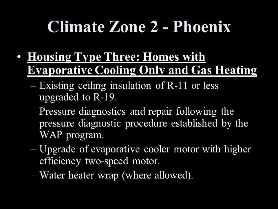Climate Zone 2 - Phoenix Housing Type Three: Homes with Evaporative Cooling Only and Gas Heating –Existing ceiling insulation of R-11 or less upgraded to R-19.