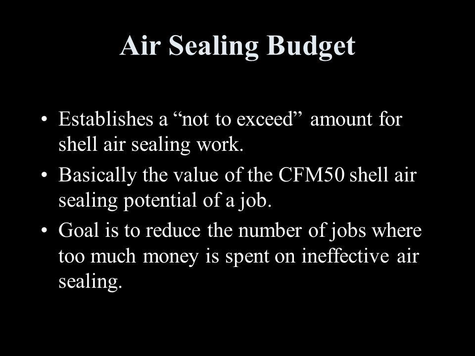 Air Sealing Budget Establishes a not to exceed amount for shell air sealing work.