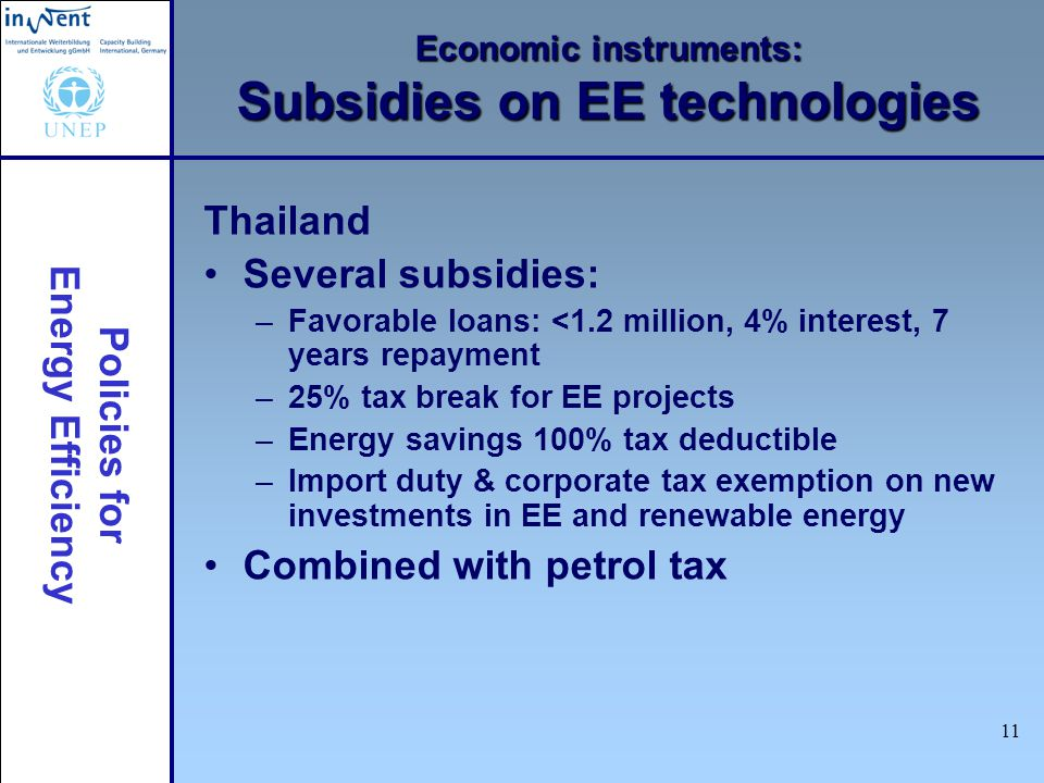 Policies for Energy Efficiency 11 Economic instruments: Subsidies on EE technologies Thailand Several subsidies: –Favorable loans: <1.2 million, 4% interest, 7 years repayment –25% tax break for EE projects –Energy savings 100% tax deductible –Import duty & corporate tax exemption on new investments in EE and renewable energy Combined with petrol tax