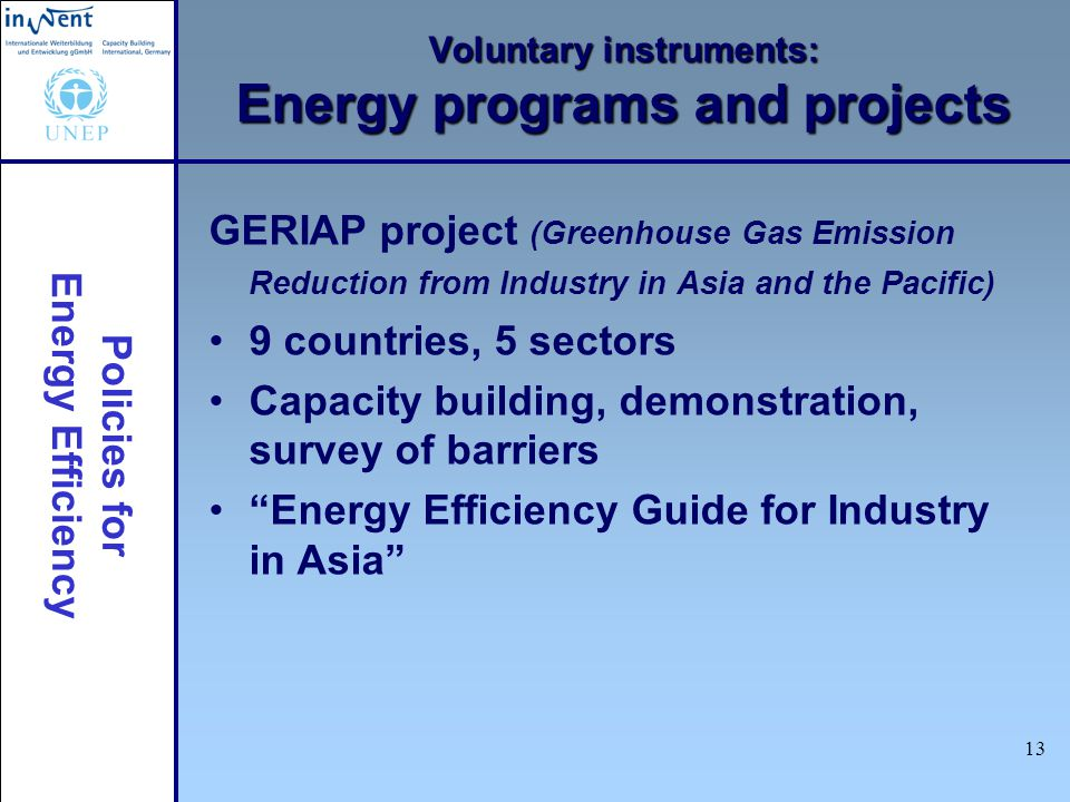 Policies for Energy Efficiency 13 Voluntary instruments: Energy programs and projects GERIAP project (Greenhouse Gas Emission Reduction from Industry in Asia and the Pacific) 9 countries, 5 sectors Capacity building, demonstration, survey of barriers Energy Efficiency Guide for Industry in Asia