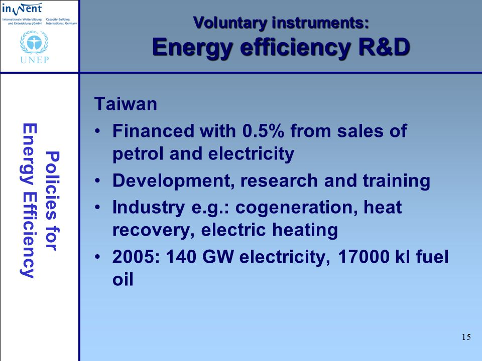 Policies for Energy Efficiency 15 Voluntary instruments: Energy efficiency R&D Taiwan Financed with 0.5% from sales of petrol and electricity Development, research and training Industry e.g.: cogeneration, heat recovery, electric heating 2005: 140 GW electricity, kl fuel oil
