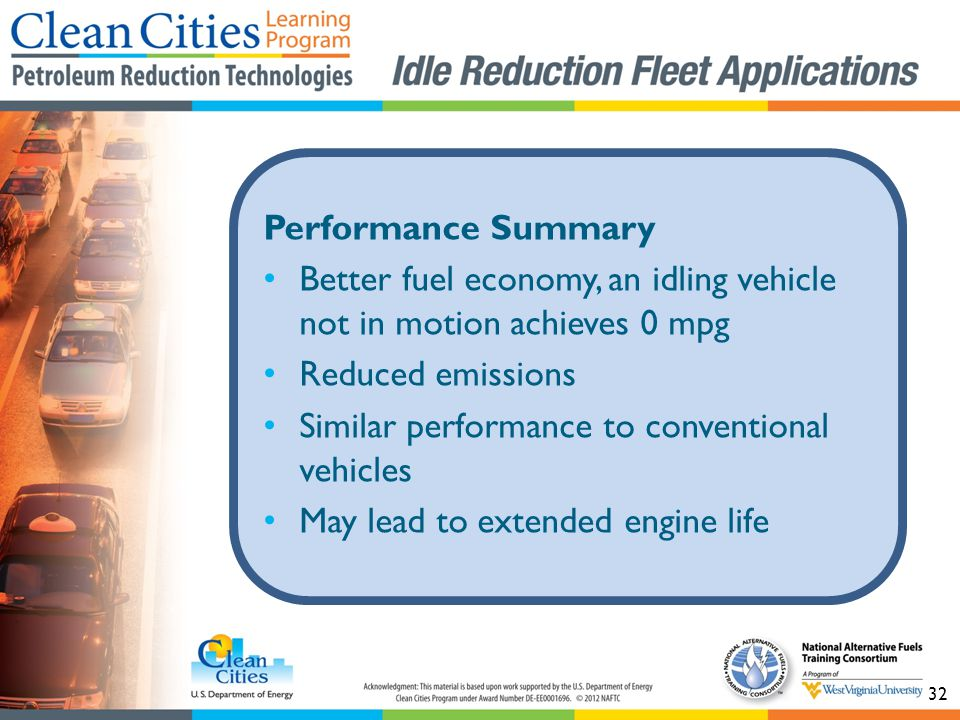 32 Performance Summary Better fuel economy, an idling vehicle not in motion achieves 0 mpg Reduced emissions Similar performance to conventional vehicles May lead to extended engine life