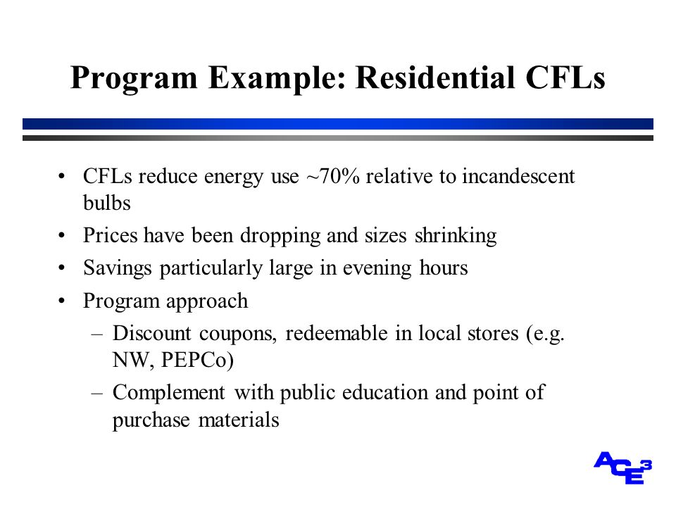Program Example: Residential CFLs CFLs reduce energy use ~70% relative to incandescent bulbs Prices have been dropping and sizes shrinking Savings particularly large in evening hours Program approach –Discount coupons, redeemable in local stores (e.g.