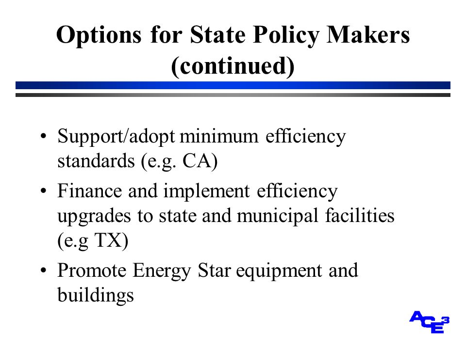 Options for State Policy Makers (continued) Support/adopt minimum efficiency standards (e.g.