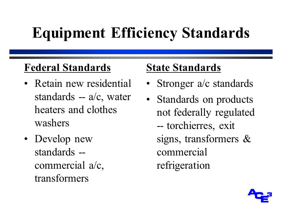 Equipment Efficiency Standards Federal Standards Retain new residential standards -- a/c, water heaters and clothes washers Develop new standards -- commercial a/c, transformers State Standards Stronger a/c standards Standards on products not federally regulated -- torchierres, exit signs, transformers & commercial refrigeration