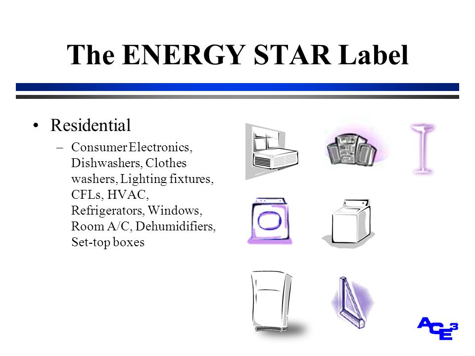 The ENERGY STAR Label Residential –Consumer Electronics, Dishwashers, Clothes washers, Lighting fixtures, CFLs, HVAC, Refrigerators, Windows, Room A/C, Dehumidifiers, Set-top boxes