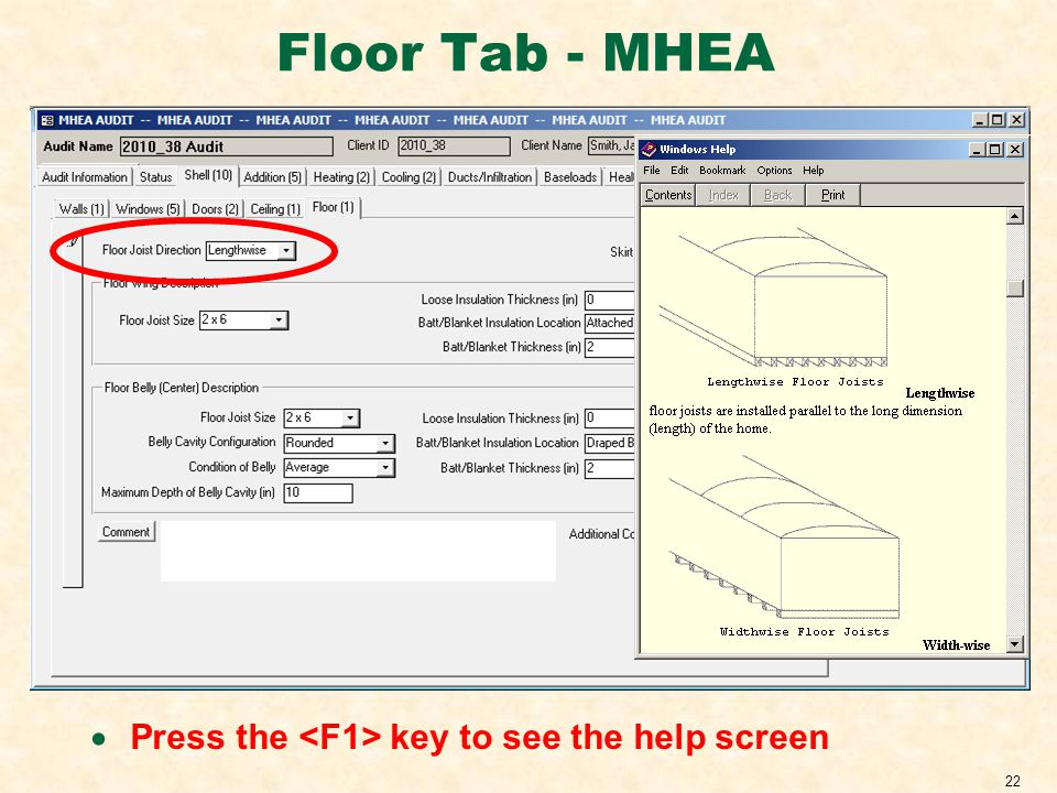 22 Floor Tab - MHEA Press the key to see the help screen