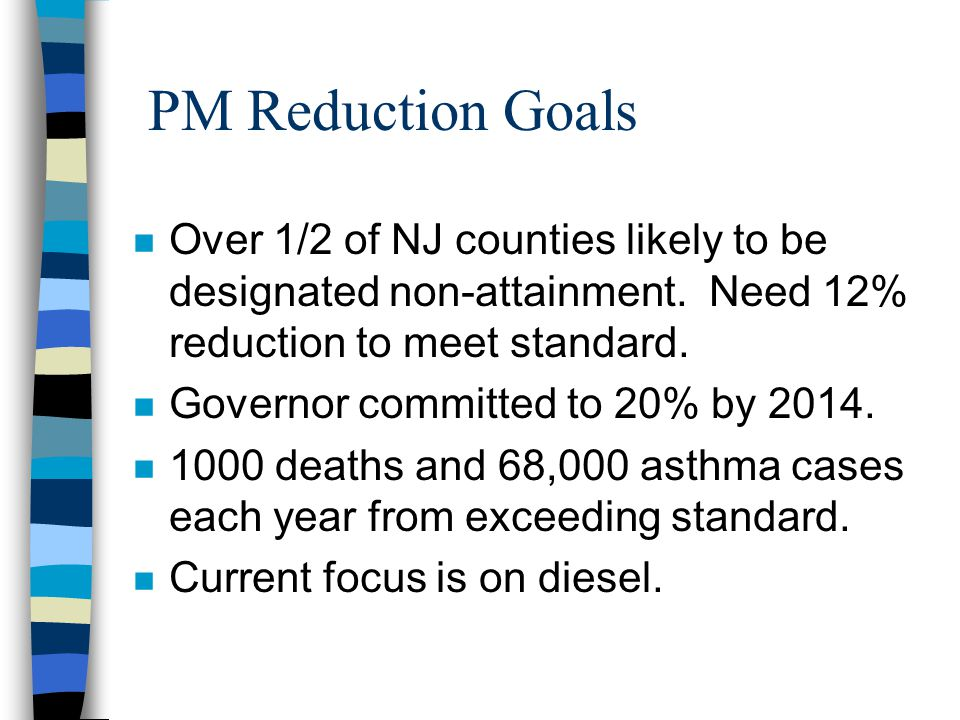 PM Reduction Goals n Over 1/2 of NJ counties likely to be designated non-attainment.