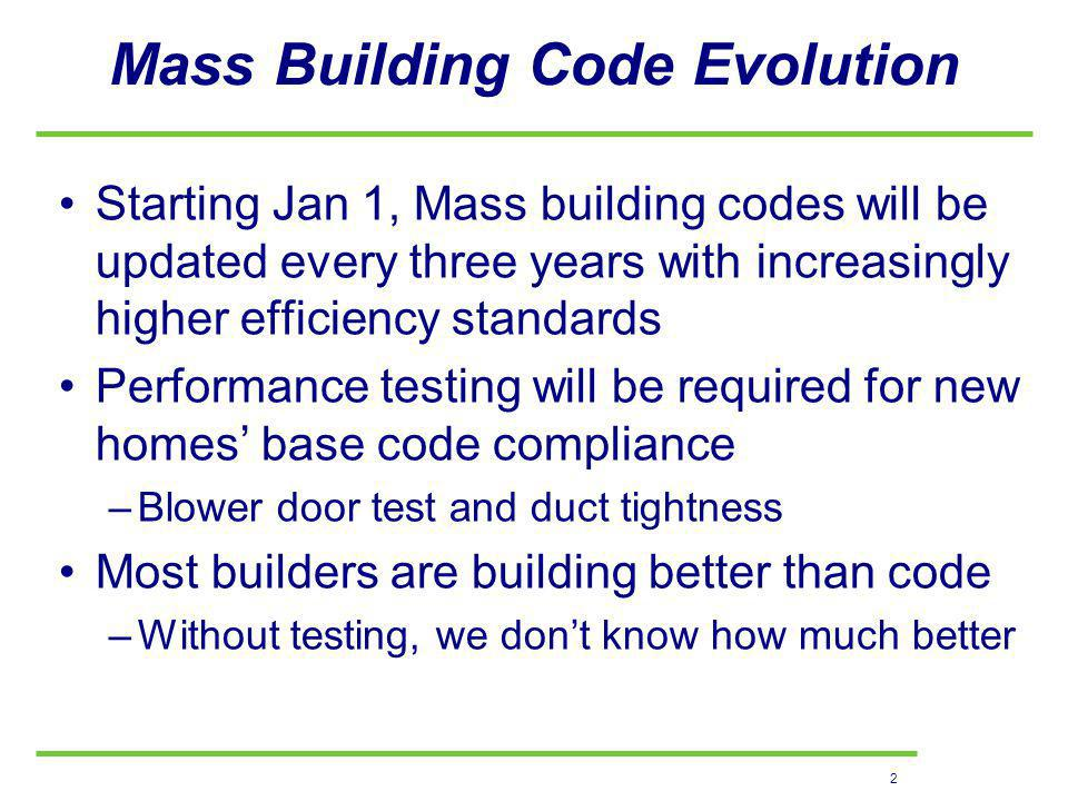 2 Mass Building Code Evolution Starting Jan 1, Mass building codes will be updated every three years with increasingly higher efficiency standards Performance testing will be required for new homes base code compliance –Blower door test and duct tightness Most builders are building better than code –Without testing, we dont know how much better