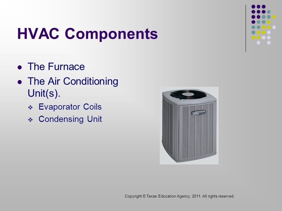 HVAC Components The Furnace The Air Conditioning Unit(s).