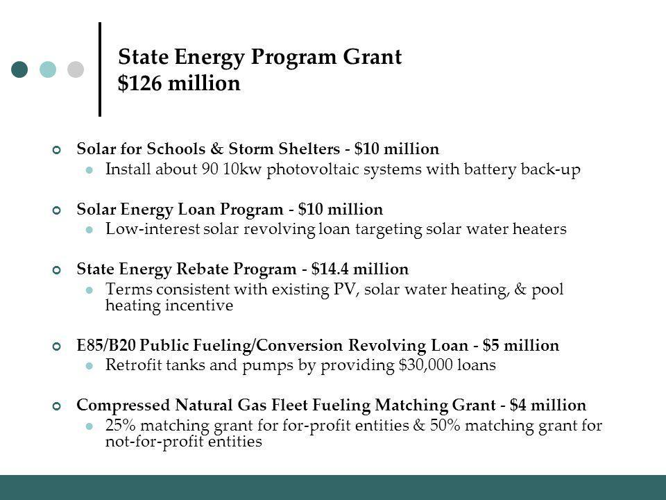 State Energy Program Grant $126 million Solar for Schools & Storm Shelters - $10 million Install about 90 10kw photovoltaic systems with battery back-up Solar Energy Loan Program - $10 million Low-interest solar revolving loan targeting solar water heaters State Energy Rebate Program - $14.4 million Terms consistent with existing PV, solar water heating, & pool heating incentive E85/B20 Public Fueling/Conversion Revolving Loan - $5 million Retrofit tanks and pumps by providing $30,000 loans Compressed Natural Gas Fleet Fueling Matching Grant - $4 million 25% matching grant for for-profit entities & 50% matching grant for not-for-profit entities