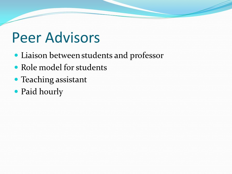 Peer Advisors Liaison between students and professor Role model for students Teaching assistant Paid hourly