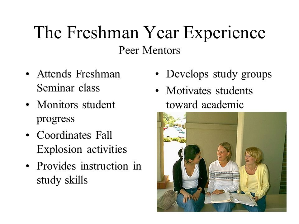 The Freshman Year Experience Peer Mentors Attends Freshman Seminar class Monitors student progress Coordinates Fall Explosion activities Provides instruction in study skills Develops study groups Motivates students toward academic success
