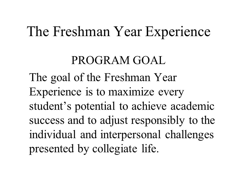 The Freshman Year Experience PROGRAM GOAL The goal of the Freshman Year Experience is to maximize every students potential to achieve academic success and to adjust responsibly to the individual and interpersonal challenges presented by collegiate life.