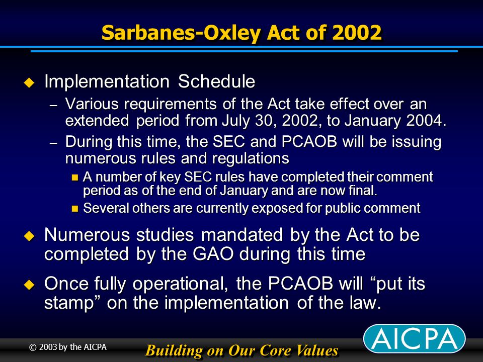 Building on Our Core Values © 2003 by the AICPA Sarbanes-Oxley Act of 2002 Implementation Schedule Implementation Schedule – Various requirements of the Act take effect over an extended period from July 30, 2002, to January 2004.