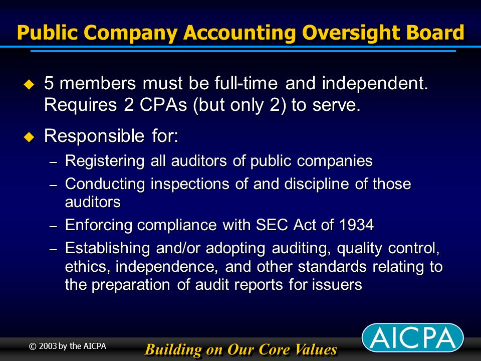 Building on Our Core Values © 2003 by the AICPA Public Company Accounting Oversight Board 5 members must be full-time and independent.