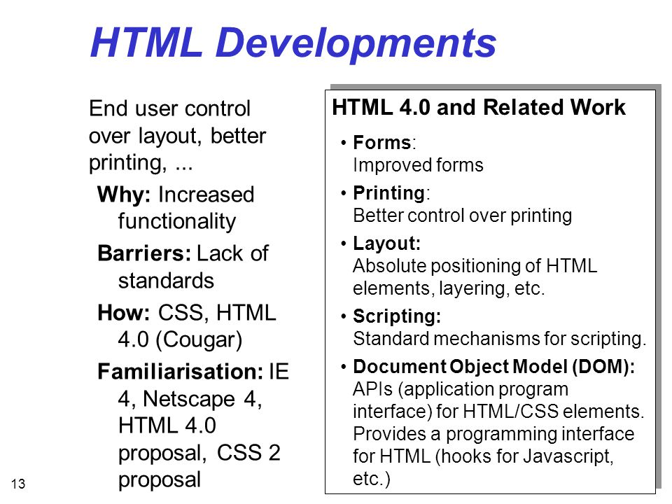 13 HTML Developments End user control over layout, better printing,...