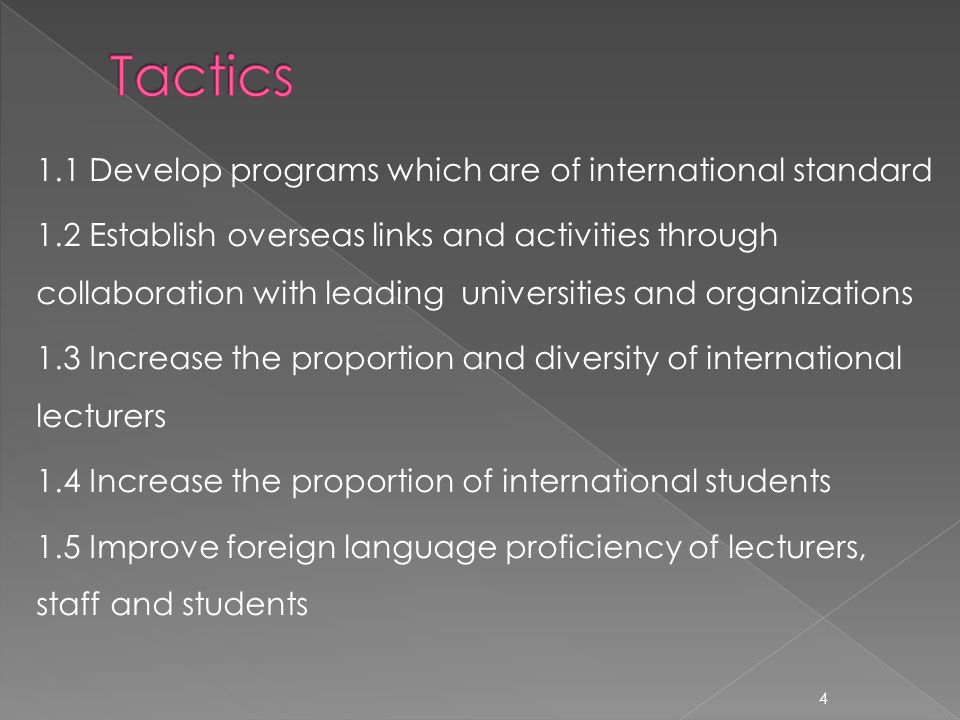 1.1 Develop programs which are of international standard 1.2 Establish overseas links and activities through collaboration with leading universities and organizations 1.3 Increase the proportion and diversity of international lecturers 1.4 Increase the proportion of international students 1.5 Improve foreign language proficiency of lecturers, staff and students 4