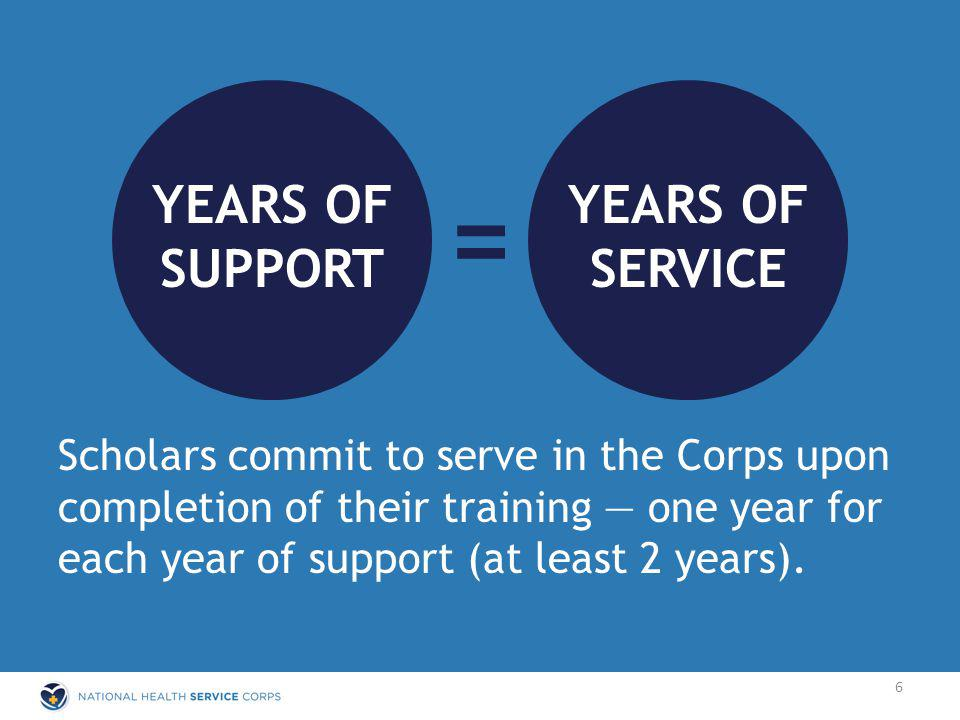= YEARS OF SUPPORT YEARS OF SERVICE Scholars commit to serve in the Corps upon completion of their training one year for each year of support (at least 2 years).