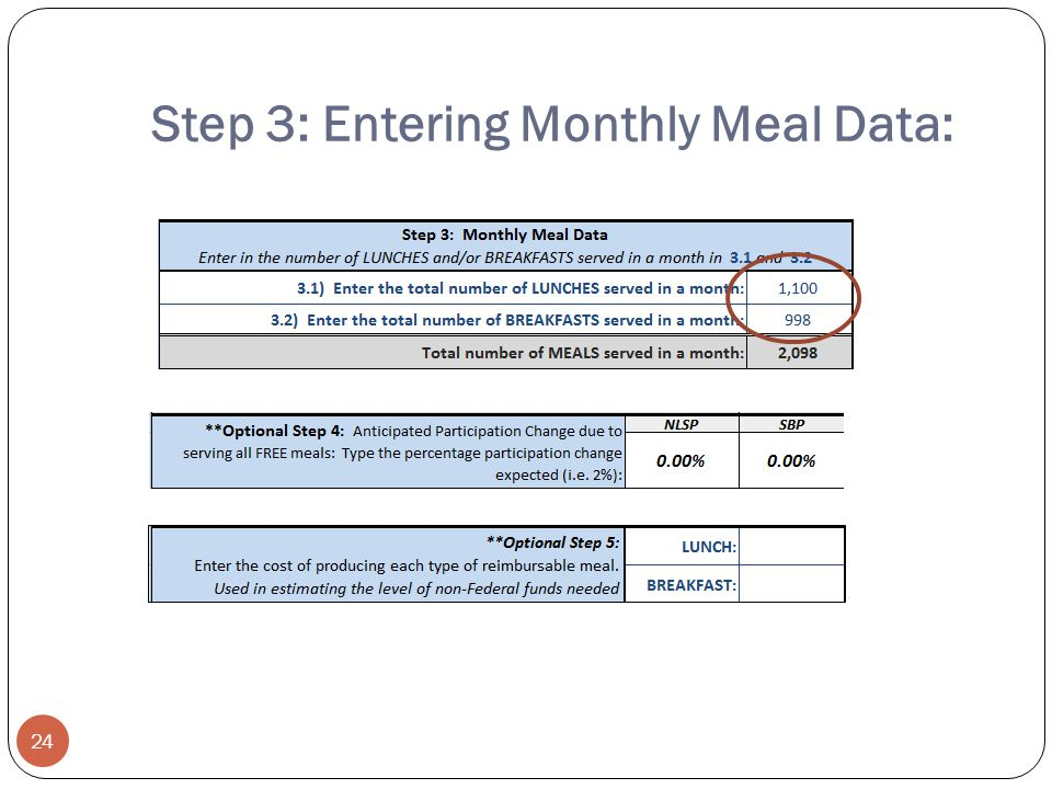 Step 3: Entering Monthly Meal Data: 24