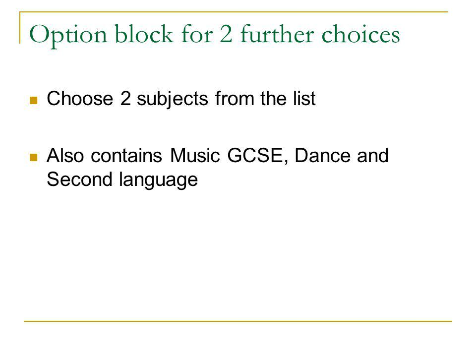 Option block for 2 further choices Choose 2 subjects from the list Also contains Music GCSE, Dance and Second language
