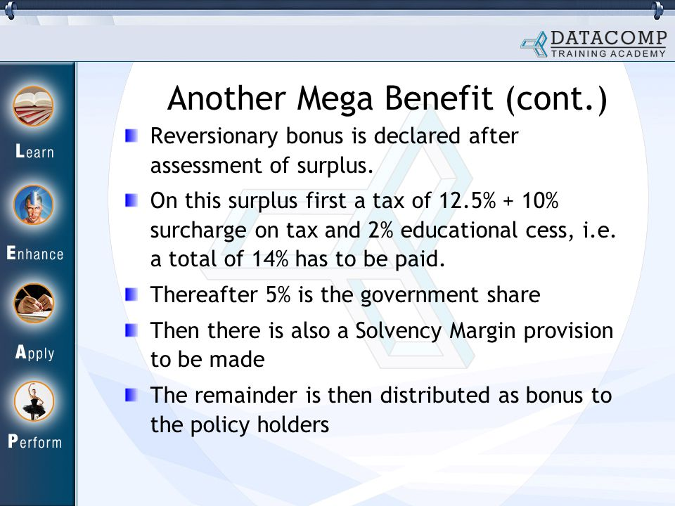 Another Mega Benefit (cont.) Reversionary bonus is declared after assessment of surplus.