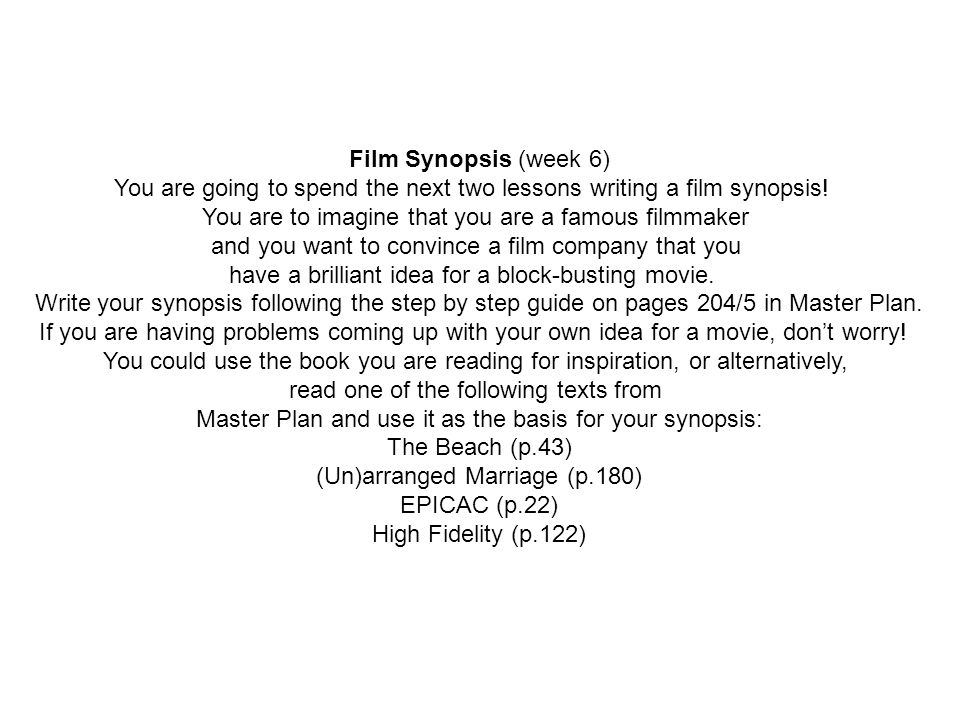 how to write a good film synopsis
