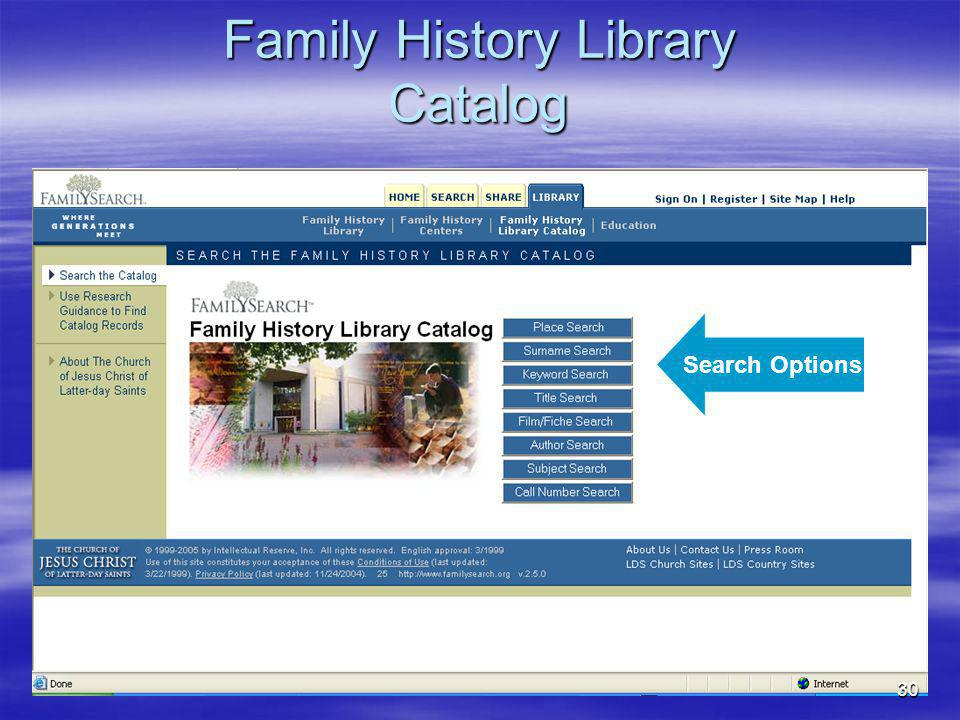 Family History Library Resources: Family History Library in