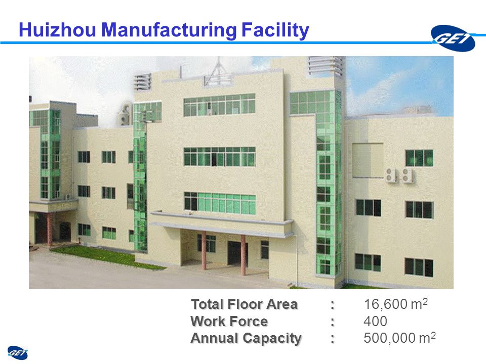 Huizhou Manufacturing Facility Total Floor Area : Total Floor Area : 16,600 m 2 Work Force: Work Force:400 Annual Capacity: Annual Capacity: 500,000 m 2
