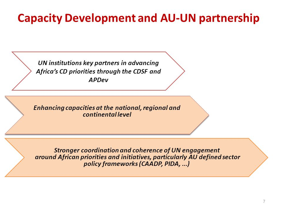 Capacity Development and AU-UN partnership 7 UN institutions key partners in advancing Africas CD priorities through the CDSF and APDev Enhancing capacities at the national, regional and continental level Stronger coordination and coherence of UN engagement around African priorities and initiatives, particularly AU defined sector policy frameworks (CAADP, PIDA,...)