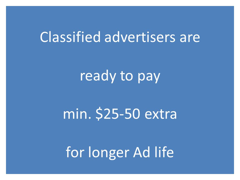 Classified advertisers are ready to pay min. $25-50 extra for longer Ad life