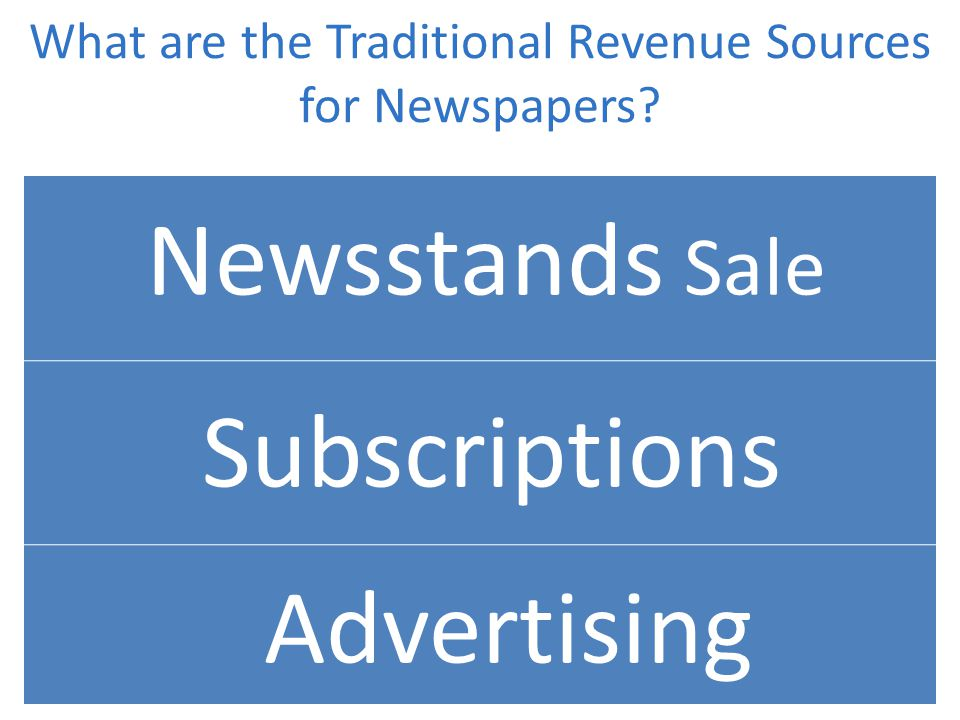 What are the Traditional Revenue Sources for Newspapers Newsstands Sale Subscriptions Advertising