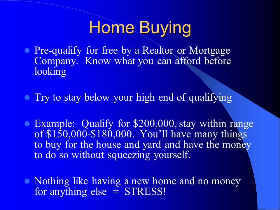 Home Buying Pre-qualify for free by a Realtor or Mortgage Company.