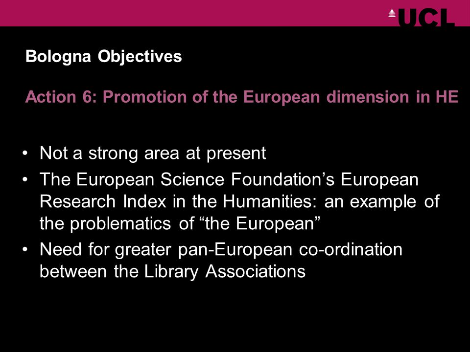 Bologna Objectives Action 6: Promotion of the European dimension in HE Not a strong area at present The European Science Foundations European Research Index in the Humanities: an example of the problematics of the European Need for greater pan-European co-ordination between the Library Associations