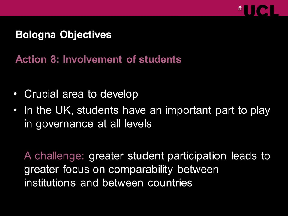Bologna Objectives Action 8: Involvement of students Crucial area to develop In the UK, students have an important part to play in governance at all levels A challenge: greater student participation leads to greater focus on comparability between institutions and between countries