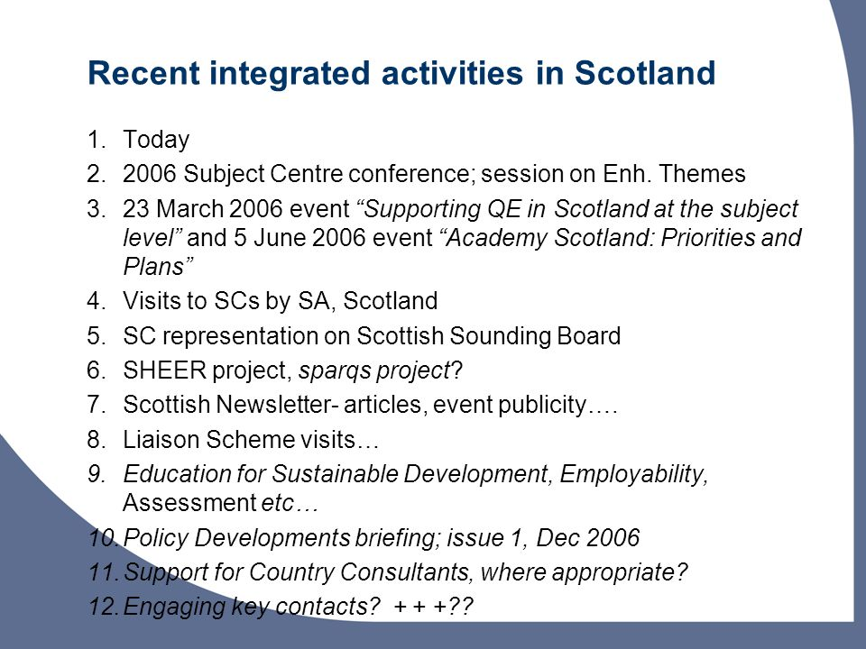 Recent integrated activities in Scotland 1.Today Subject Centre conference; session on Enh.