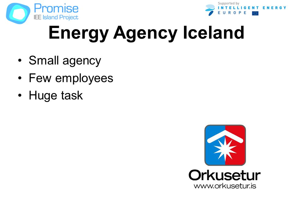 Energy Agency Iceland Small agency Few employees Huge task