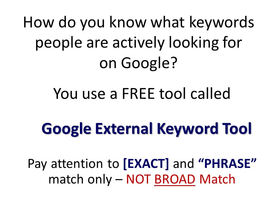 How do you know what keywords people are actively looking for on Google.