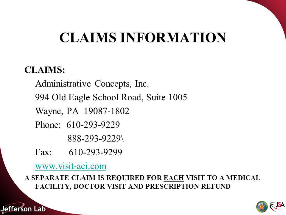 CLAIMS INFORMATION CLAIMS: Administrative Concepts, Inc.