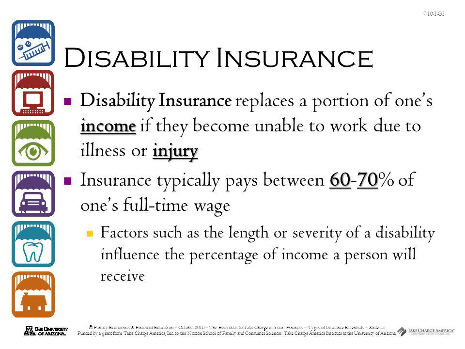 © Family Economics & Financial Education – October 2010 – The Essentials to Take Charge of Your Finances – Types of Insurance Essentials – Slide 15 Funded by a grant from Take Charge America, Inc.