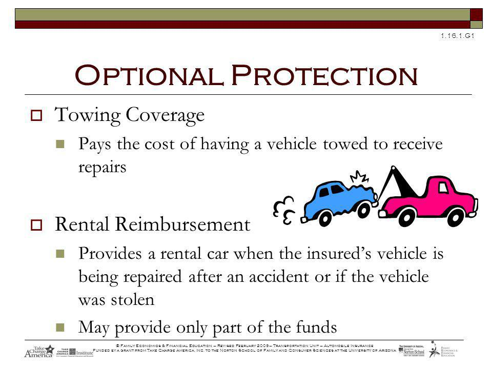 G1 © Family Economics & Financial Education – Revised February 2009– Transportation Unit – Automobile Insurance Funded by a grant from Take Charge America, Inc.