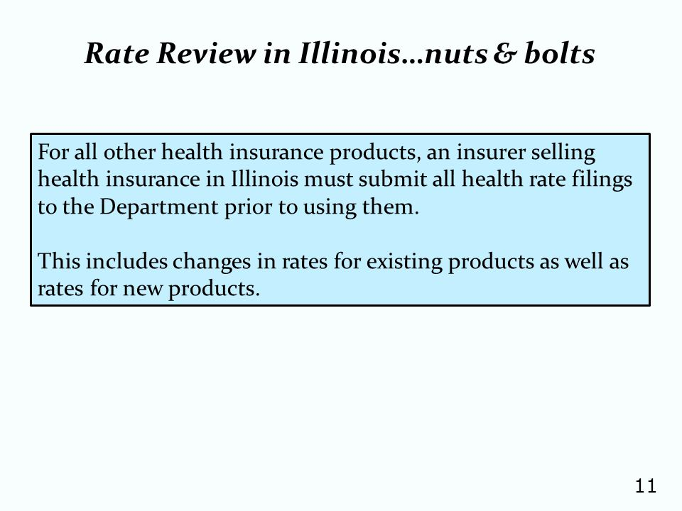 11 For all other health insurance products, an insurer selling health insurance in Illinois must submit all health rate filings to the Department prior to using them.
