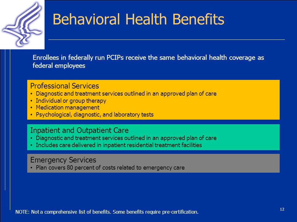Behavioral Health Benefits Enrollees in federally run PCIPs receive the same behavioral health coverage as federal employees 12 Professional Services Diagnostic and treatment services outlined in an approved plan of care Individual or group therapy Medication management Psychological, diagnostic, and laboratory tests Inpatient and Outpatient Care Diagnostic and treatment services outlined in an approved plan of care Includes care delivered in inpatient residential treatment facilities Emergency Services Plan covers 80 percent of costs related to emergency care NOTE: Not a comprehensive list of benefits.