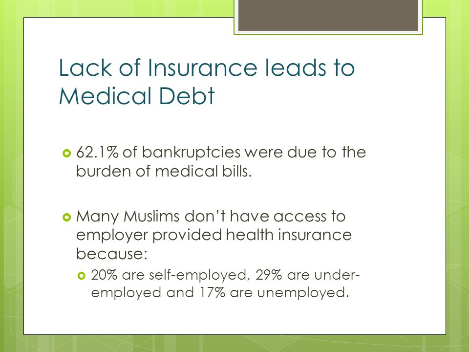 Lack of Insurance leads to Medical Debt 62.1% of bankruptcies were due to the burden of medical bills.
