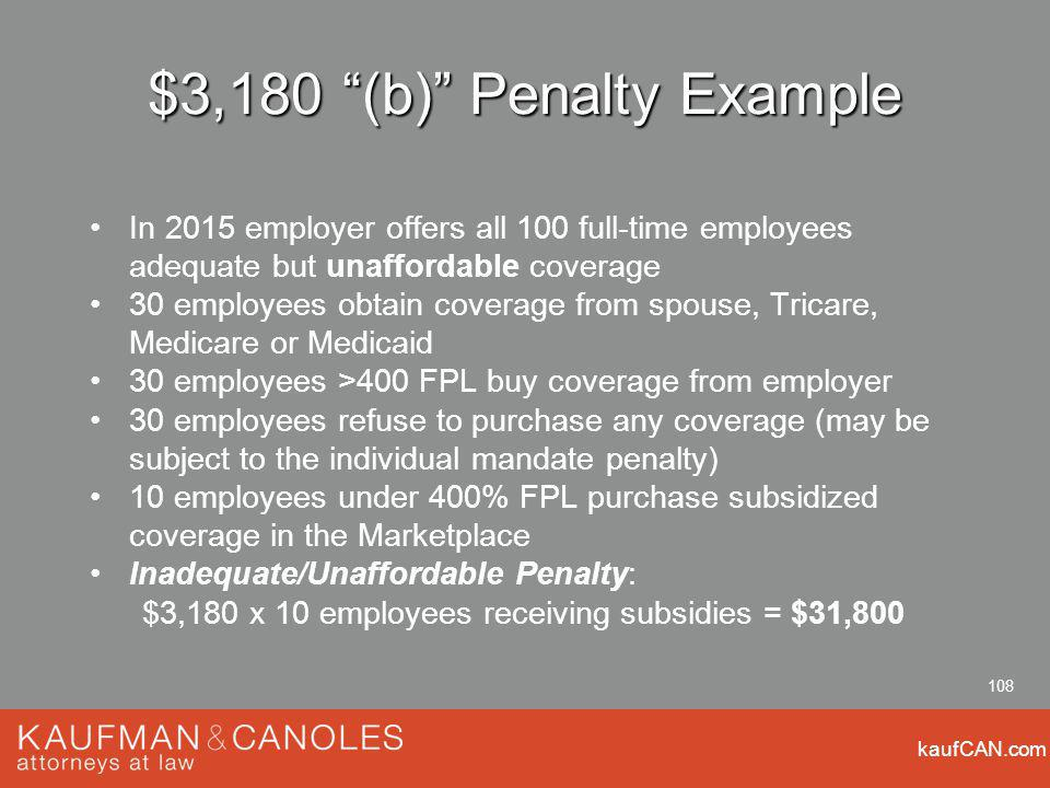 kaufCAN.com 108 $3,180 (b) Penalty Example In 2015 employer offers all 100 full-time employees adequate but unaffordable coverage 30 employees obtain coverage from spouse, Tricare, Medicare or Medicaid 30 employees >400 FPL buy coverage from employer 30 employees refuse to purchase any coverage (may be subject to the individual mandate penalty) 10 employees under 400% FPL purchase subsidized coverage in the Marketplace Inadequate/Unaffordable Penalty: $3,180 x 10 employees receiving subsidies = $31,800