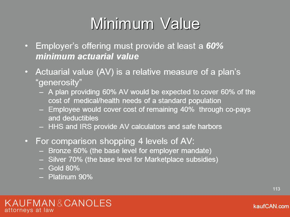 kaufCAN.com 113 Minimum Value Employers offering must provide at least a 60% minimum actuarial value Actuarial value (AV) is a relative measure of a plans generosity –A plan providing 60% AV would be expected to cover 60% of the cost of medical/health needs of a standard population –Employee would cover cost of remaining 40% through co-pays and deductibles –HHS and IRS provide AV calculators and safe harbors For comparison shopping 4 levels of AV: –Bronze 60% (the base level for employer mandate) –Silver 70% (the base level for Marketplace subsidies) –Gold 80% –Platinum 90%