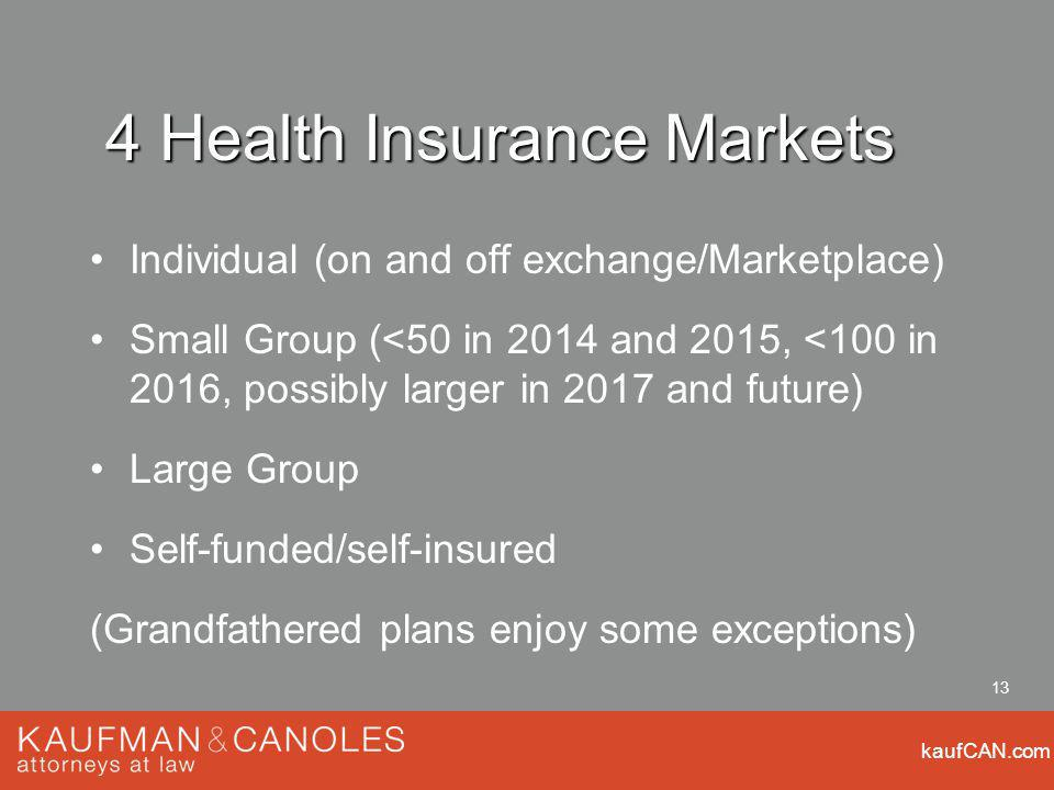 kaufCAN.com 13 4 Health Insurance Markets Individual (on and off exchange/Marketplace) Small Group (<50 in 2014 and 2015, <100 in 2016, possibly larger in 2017 and future) Large Group Self-funded/self-insured (Grandfathered plans enjoy some exceptions)
