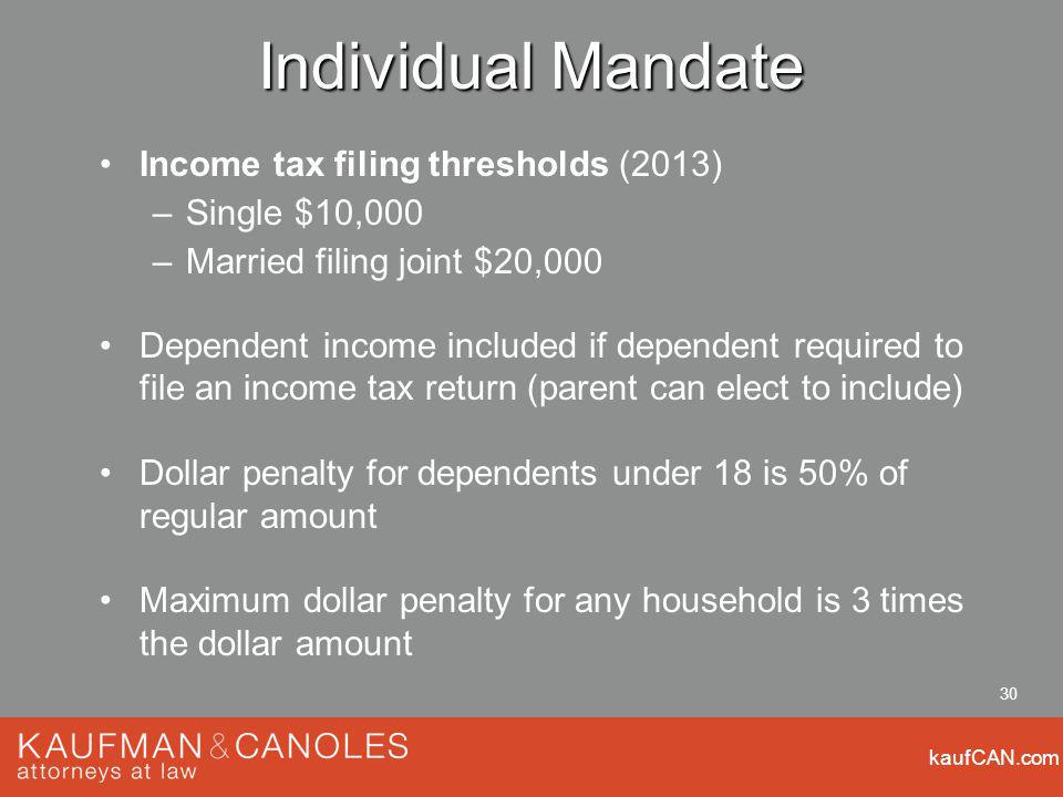 kaufCAN.com 30 Individual Mandate Income tax filing thresholds (2013) –Single $10,000 –Married filing joint $20,000 Dependent income included if dependent required to file an income tax return (parent can elect to include) Dollar penalty for dependents under 18 is 50% of regular amount Maximum dollar penalty for any household is 3 times the dollar amount