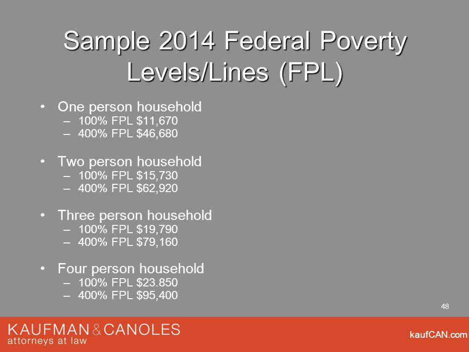 kaufCAN.com 48 Sample 2014 Federal Poverty Levels/Lines (FPL) One person household –100% FPL $11,670 –400% FPL $46,680 Two person household –100% FPL $15,730 –400% FPL $62,920 Three person household –100% FPL $19,790 –400% FPL $79,160 Four person household –100% FPL $ –400% FPL $95,400